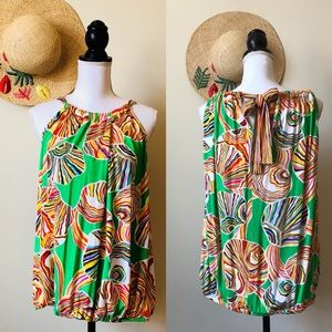 Trina Turk Rainbow Graphic Wrap Halter Top Large